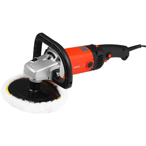 1400W Voiture Electrique Fartage Polisseuse Machine Portable M14 Polisseuse 180Mm Voiture Peinture Soins A Vitesse Variable Menage Marbre Carrelage Sol Outil Vitrage Polissage, Orange
