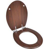140800 WC Toilet Seat MDF Soft Close Lid Simple Design Brown