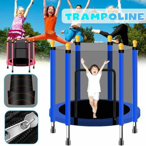 140cm Baby Kids Home Indoor Trampoline Jumping Kids Fitness Exercise With Net Protector Bed Outdoor Bed