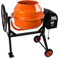 140L Concrete Mixer (230 V, Hand Wheel, 2 Wheels, Base plate, Robust Engine, Sturdy Rack)