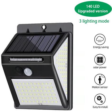 140leds Solar Powered Wall Lamp Lighting Sensor & PIR Motion Sensor Control Three Sides Wall Mounted Light IP65 Water-resistant