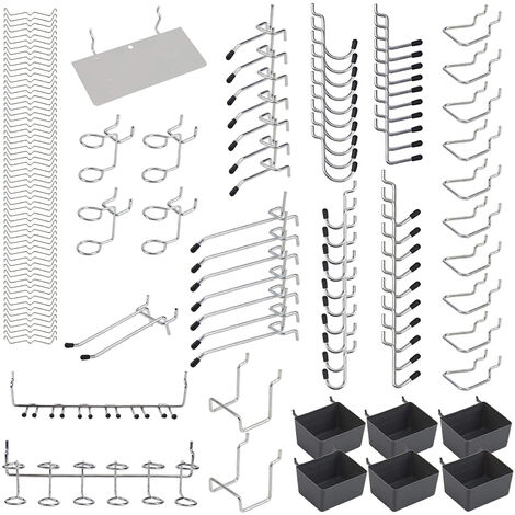 140pcs metal Pared perforada Ganchos Organizador Surtido Kit Peg Cerraduras colgantes Aplicaciones, 140pcs