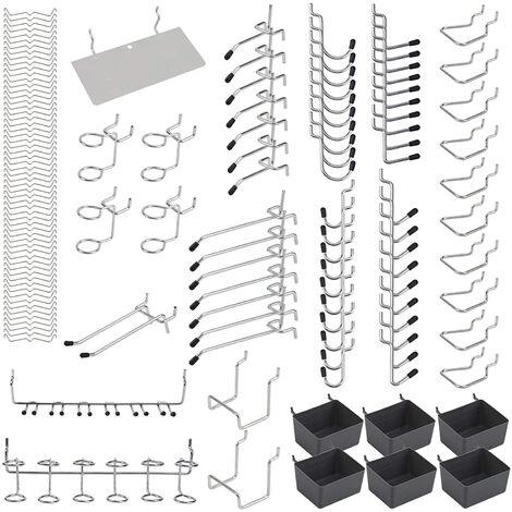 140Pz Ganci per pannello forato in metallo Kit assortimento per organizer Serrature per pioli Applicazioni sospese,140 Pz