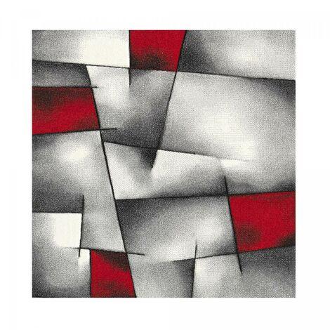 140x140 carre 140x140 - UN AMOUR DE TAPIS - Tapis Carré - Tapis Salon Moderne Design - Grand Tapis Salon Poils Ras - Tapis Chambre Turquoise - Tapis Rouge Gris