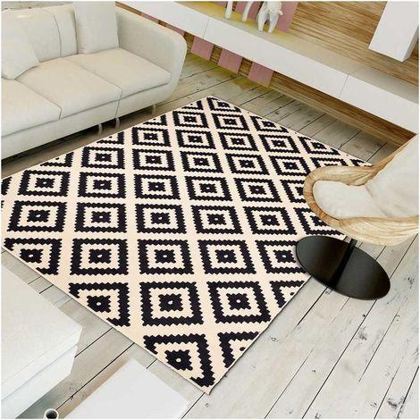 140x200 - UN AMOUR DE TAPIS - AF ROMA - Tapis Moderne Design tapis Salon et tapis chambre - Bleu Créme - Couleurs et Tailles Disponibles