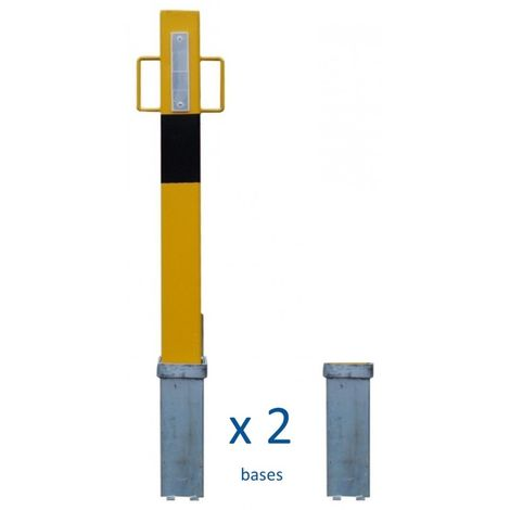 140Y H/D Yellow Removable Security Post with Handles & 2 x Bases (001-3980 K/D, 001-3970 K/A)