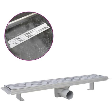 Linear Shower Drain Wave 630x140 mm Stainless Steel