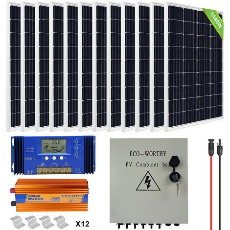 1440W 24V Solar System:12 pcs 120W Solar Panel & Combiner Box and 3000W Inverter