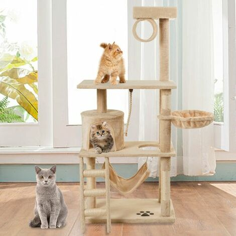 146cm Cat Tree Tower Activity Centre with Scratching Posts, Cat Climbing Tower Tree Furniture with Perch Platform / Tunnel / Condo / Hammocks / Ladder / Hanging Rope(Beige)