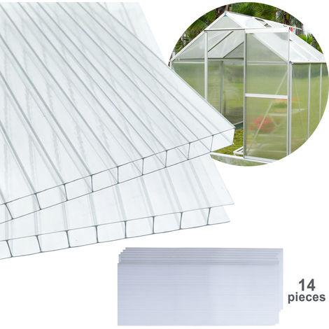 14x plaques murales doubles en polycarbonate (605 x 121 cm) 4 mm Panneau double paroi de 1025 m² pour serre panneaux de remplacement pour serre de jardin