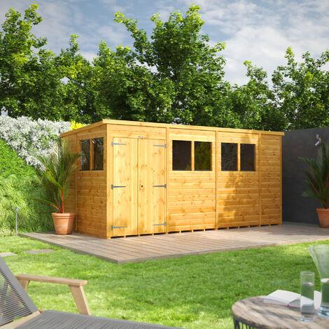 14x6 Power Pent Double Door Garden Shed