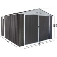 15' 8'' x 10' 5'' Metal Garage Shed - Nevada- with swinging doors