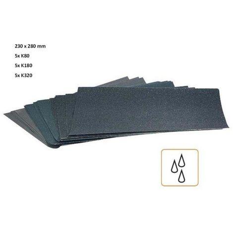 15 Blatt wasserfestes Schleifpapier 280x230mm je 5x K80 K180 K320 Sandpapier