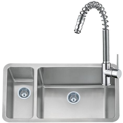 1.5 Bowl Stainless Steel UnderMount Kitchen Sink & Pull Out Mixer Tap (KST067)