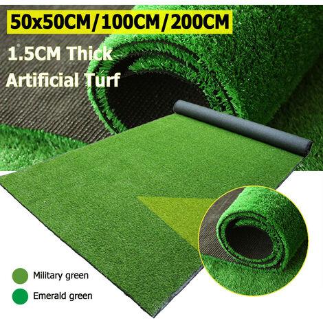 1.5 cm d'épaisseur cryptage animal chien zone paysage doux gazon artificiel pelouse fausse herbe intérieur extérieur golf vert décor (vert émeraude 50x200 cm)