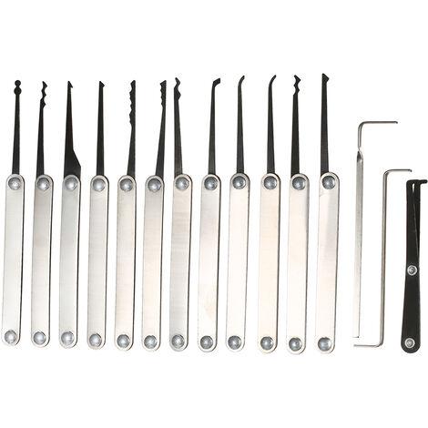 15 PCS Lockpicking Set Edelstahl-Verschluss Kit Praxis-Trainings-Lock-Werkzeug fur Schlosser Anfanger und Profis