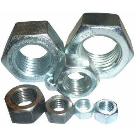 15 pcs M12 hexagone plein écrou en acier zingué écrous hexagonaux pour vis boulons din934