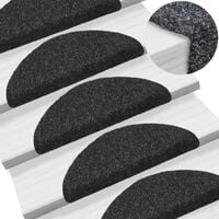 15 pcs Self-adhesive Stair Mats Needle Punch 54x16x4 cm Black