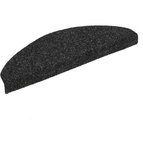 15 pcs Self-adhesive Stair Mats Needle Punch 65x21x4 cm Black