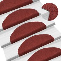 15 pcs Self-adhesive Stair Mats Needle Punch 65x21x4 cm Red