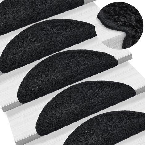 15 pcs Tapis d'escalier Noir 65 x 25 cm