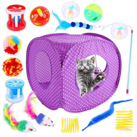 """main image of """"15-piece cat toy set, cat tent, a variety of combinations of pet toys,throwing toys (accessories in random colors)"""""""