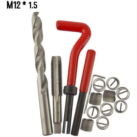 15 Pieces Kit D\'Insert De Reparation De Filetage Metrique M5 M6 M8 M10 M12 M14 Helicoil Car Pro Bobine Outil M12 * 1.5