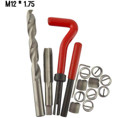 15 Pieces Kit D\'Insert De Reparation De Filetage Metrique M5 M6 M8 M10 M12 M14 Helicoil Car Pro Bobine Outil M12 * 1.75