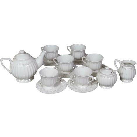15 pieces white porcelain made coffee service set