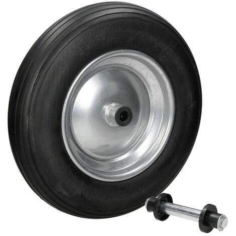 """15"""" Rueda de respuesto carretilla neumático PU negro 350 mm 3.50-8 con eje"""