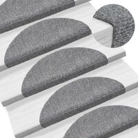 15 Self-adhesive Stair Mats Needle Punch 54x16x4cm Light Grey