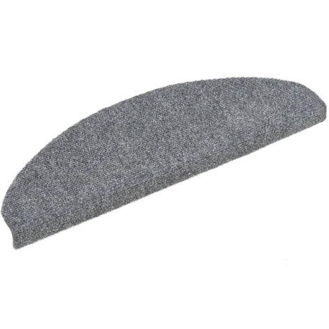15 Self-adhesive Stair Mats Needle Punch 65x21x4 cm Light Grey