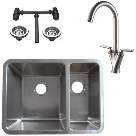 1.5 Stainless Steel Undermount Kitchen Sink & Dual Lever Mixer Tap (KST125 L)
