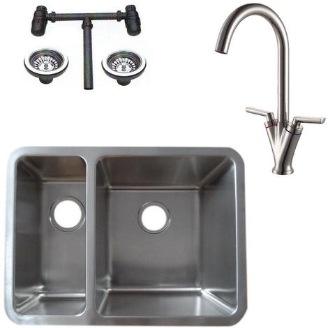 1.5 Stainless Steel Undermount Kitchen Sink & Dual Lever Mixer Tap (KST125 R)