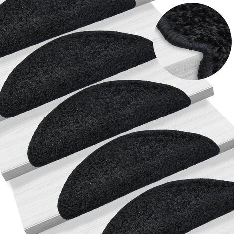 15 tapis d'escalier noir avec bandes adhésives 65 x 25 cm - noir