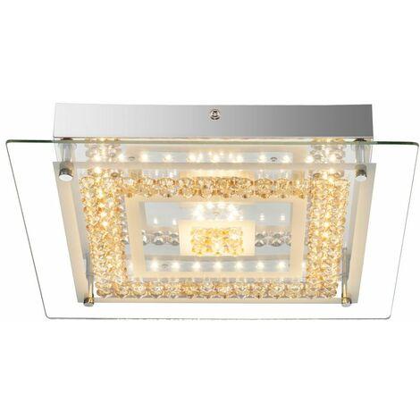 15 vatios de lujo cristales de color ámbar LED de techo de vidrio de cromo luz de la lámpara Globo 49353