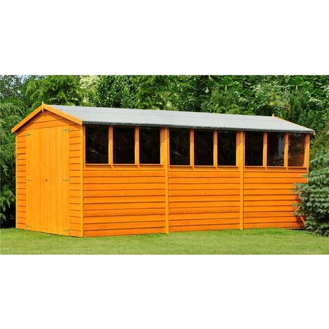 15 x 10 Dip Treated Overlap Apex Wooden Garden Shed With 9 Windows And Double Doors (11mm Solid OSB Floor) - CORE (BS)