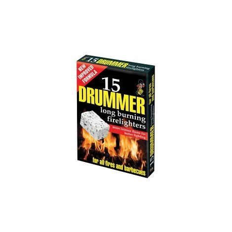 15 X Drummer White Firelighters Extra Long Lasting All Fired and Barbecues