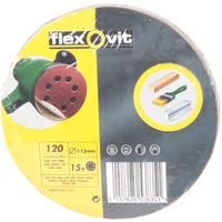 15 x Flexovit Abrasive Fine-Grit Velcro Sandpaper Discs - 120g - 115mm
