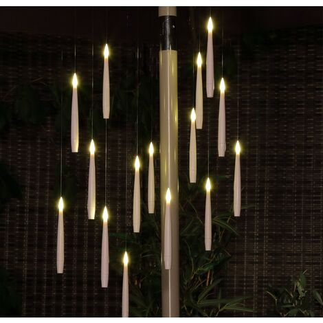 15 x Noma Magic Candle Flame Chandelier String Parasol Garden Lights Battery