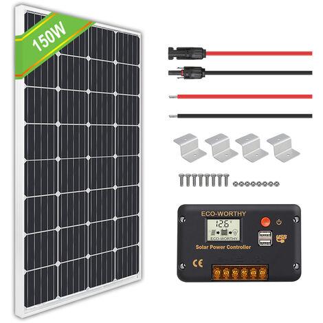 150 Watt Solar Kit 150W 12V Mono Solar Panel & 20A Controller for Home RV Boat