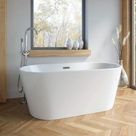 1500 Modern Freestanding Bath Double Ended Overflow Waste White Acrylic Luxury