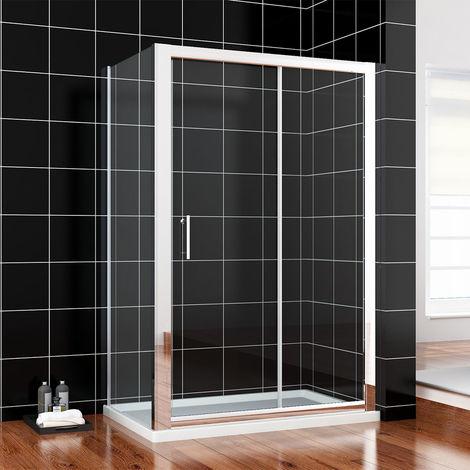 1500 x 700 mm Sliding Shower Enclosure 6mm Glass Reversible Cubicle Door Screen Panel + Side Panel
