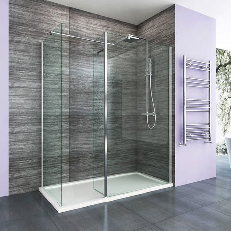 1500 x 700 mm Walk in Shower Enclosure 8mm Easy Clean Glass 1000mm Wetroom Shower Glass Panel with Side Panel and Shower Tray and 300mm Flipper Panel