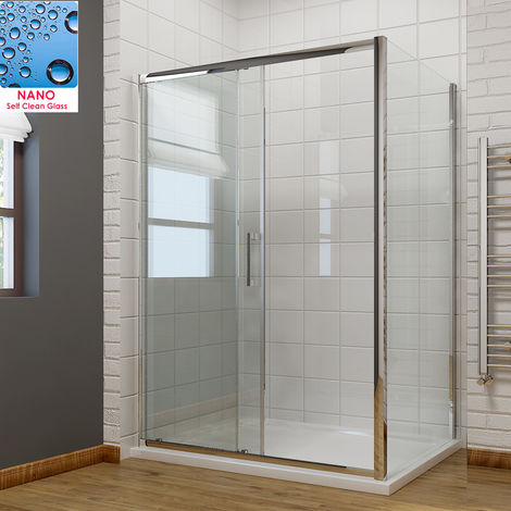 1500 x 700mm Sliding Shower Enclosure 8mm Easy Clean Glass Shower Cubicle Door with Shower Tray + Side Panel