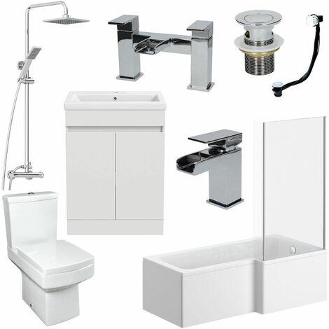 1500mm Bathroom Suite L Shape RH Bath Screen Vanity Basin Toilet Shower Taps