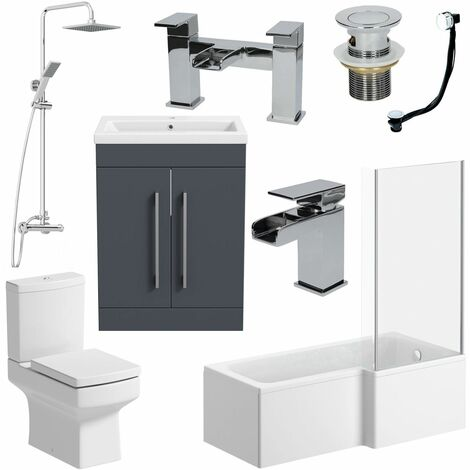 "main image of ""1500mm Bathroom Suite L Shape RH Bath Shower Screen Vanity Basin Taps Toilet"""