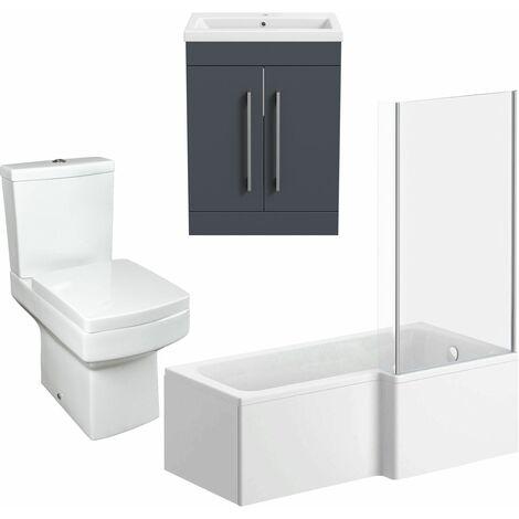 1500mm Bathroom Suite RH L Shape Bath Screen Vanity Unit Basin Toilet Modern