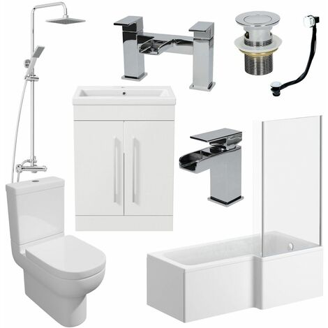 1500mm Bathroom Suite RH L Shaped Bath Screen Basin Toilet Shower Taps Waste