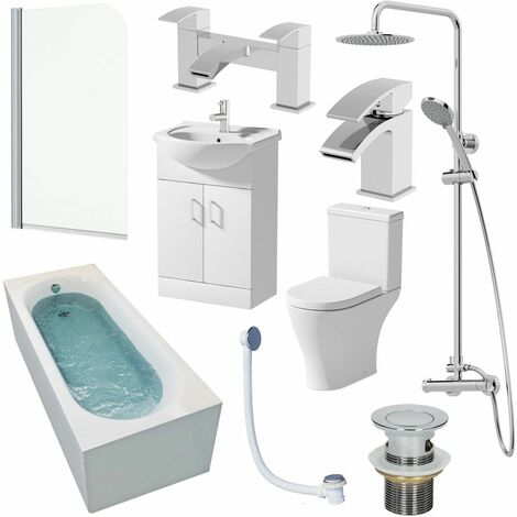 1500mm Bathroom Suite Single Ended Bath Shower Screen Toilet Vanity Basin Taps